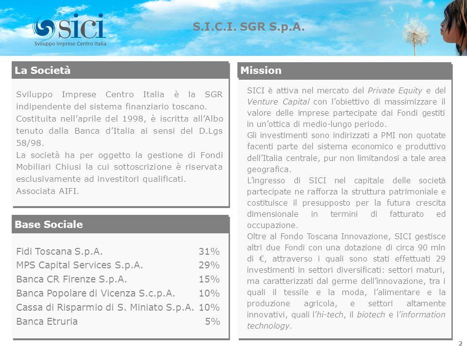 La Società Sviluppo Imprese Centro Italia è la SGR indipendente del sistema finanziario toscano. Costituita nellaprile del 1998, è iscritta allAlbo te