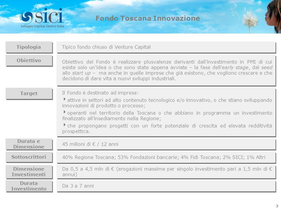 Fondo Toscana Innovazione 3 Tipologia Tipico fondo chiuso di Venture Capital Obiettivo del Fondo è realizzare plusvalenze derivanti dallinvestimento i