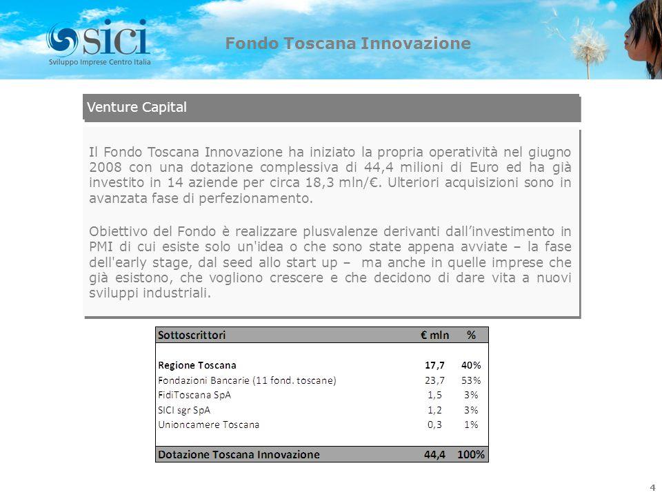 4 Fondo Toscana Innovazione Il Fondo Toscana Innovazione ha iniziato la propria operatività nel giugno 2008 con una dotazione complessiva di 44,4 mili
