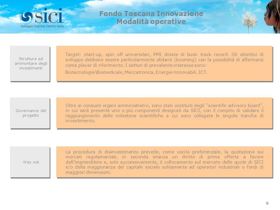 6 Fondo Toscana Innovazione Modalità operative Struttura ed ammontare degli investimenti Way out Target: start-up, spin off universitari, PMI dotate d