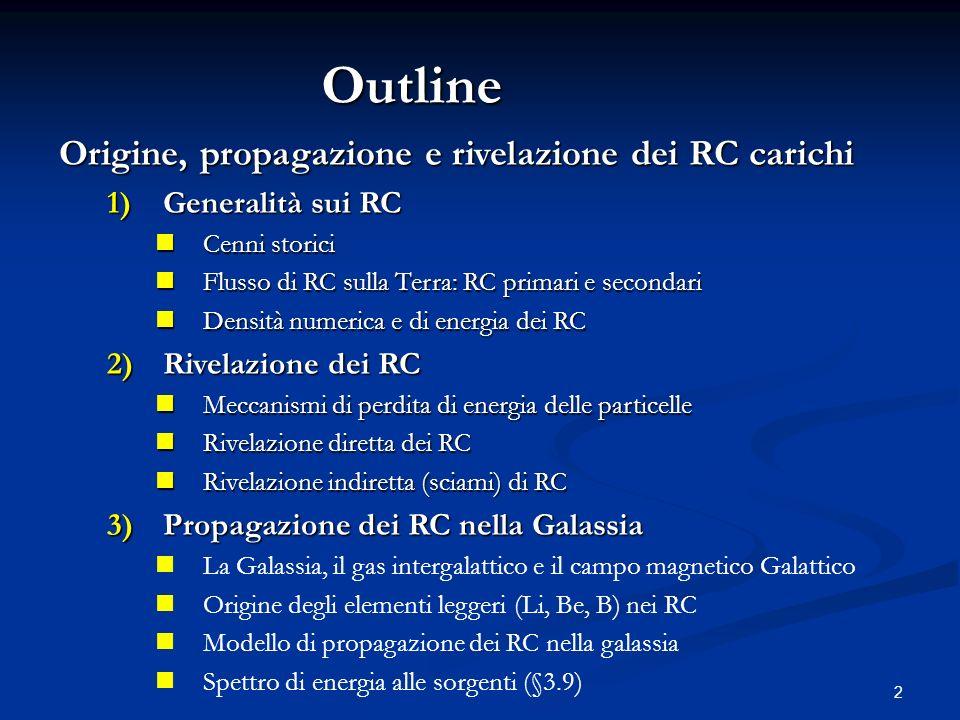 2 Origine, propagazione e rivelazione dei RC carichi 1)Generalità sui RC Cenni storici Cenni storici Flusso di RC sulla Terra: RC primari e secondari Flusso di RC sulla Terra: RC primari e secondari Densità numerica e di energia dei RC Densità numerica e di energia dei RC 2)Rivelazione dei RC Meccanismi di perdita di energia delle particelle Meccanismi di perdita di energia delle particelle Rivelazione diretta dei RC Rivelazione diretta dei RC Rivelazione indiretta (sciami) di RC Rivelazione indiretta (sciami) di RC 3)Propagazione dei RC nella Galassia La Galassia, il gas intergalattico e il campo magnetico Galattico Origine degli elementi leggeri (Li, Be, B) nei RC Modello di propagazione dei RC nella galassia Spettro di energia alle sorgenti (§3.9) Outline