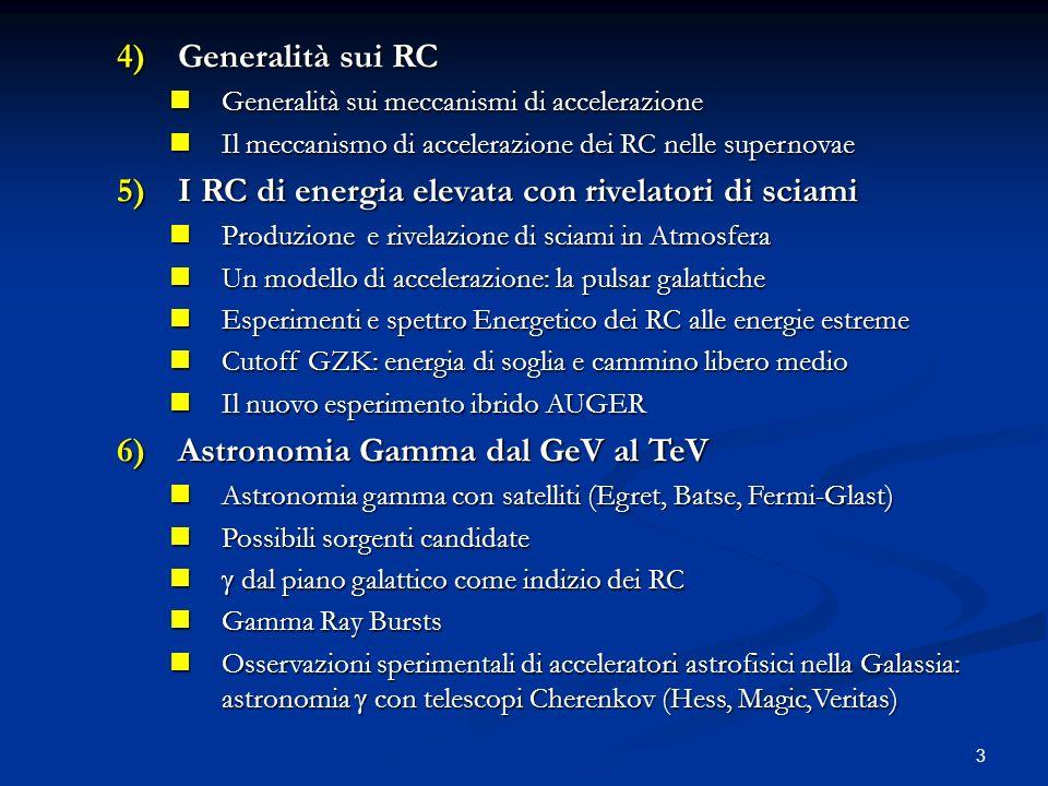 3 4)Generalità sui RC Generalità sui meccanismi di accelerazione Generalità sui meccanismi di accelerazione Il meccanismo di accelerazione dei RC nelle supernovae Il meccanismo di accelerazione dei RC nelle supernovae 5)I RC di energia elevata con rivelatori di sciami Produzione e rivelazione di sciami in Atmosfera Produzione e rivelazione di sciami in Atmosfera Un modello di accelerazione: la pulsar galattiche Un modello di accelerazione: la pulsar galattiche Esperimenti e spettro Energetico dei RC alle energie estreme Esperimenti e spettro Energetico dei RC alle energie estreme Cutoff GZK: energia di soglia e cammino libero medio Cutoff GZK: energia di soglia e cammino libero medio Il nuovo esperimento ibrido AUGER Il nuovo esperimento ibrido AUGER 6)Astronomia Gamma dal GeV al TeV Astronomia gamma con satelliti (Egret, Batse, Fermi-Glast) Astronomia gamma con satelliti (Egret, Batse, Fermi-Glast) Possibili sorgenti candidate Possibili sorgenti candidate dal piano galattico come indizio dei RC dal piano galattico come indizio dei RC Gamma Ray Bursts Gamma Ray Bursts Osservazioni sperimentali di acceleratori astrofisici nella Galassia: astronomia con telescopi Cherenkov (Hess, Magic,Veritas) Osservazioni sperimentali di acceleratori astrofisici nella Galassia: astronomia con telescopi Cherenkov (Hess, Magic,Veritas)