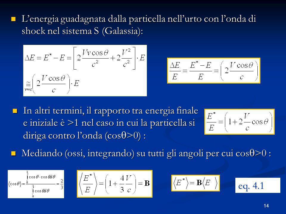 14 Lenergia guadagnata dalla particella nellurto con londa di shock nel sistema S (Galassia): Lenergia guadagnata dalla particella nellurto con londa