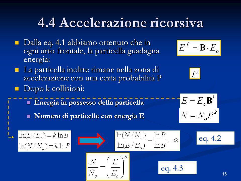 15 4.4 Accelerazione ricorsiva Dalla eq. 4.1 abbiamo ottenuto che in ogni urto frontale, la particella guadagna energia: Dalla eq. 4.1 abbiamo ottenut