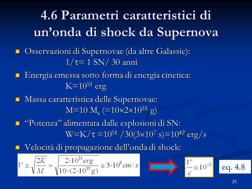 21 4.6 Parametri caratteristici di unonda di shock da Supernova Osservazioni di Supernovae (da altre Galassie): 1/ = 1 SN/ 30 anni Osservazioni di Sup