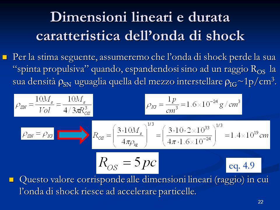 22 Dimensioni lineari e durata caratteristica dellonda di shock Per la stima seguente, assumeremo che londa di shock perde la sua spinta propulsiva qu