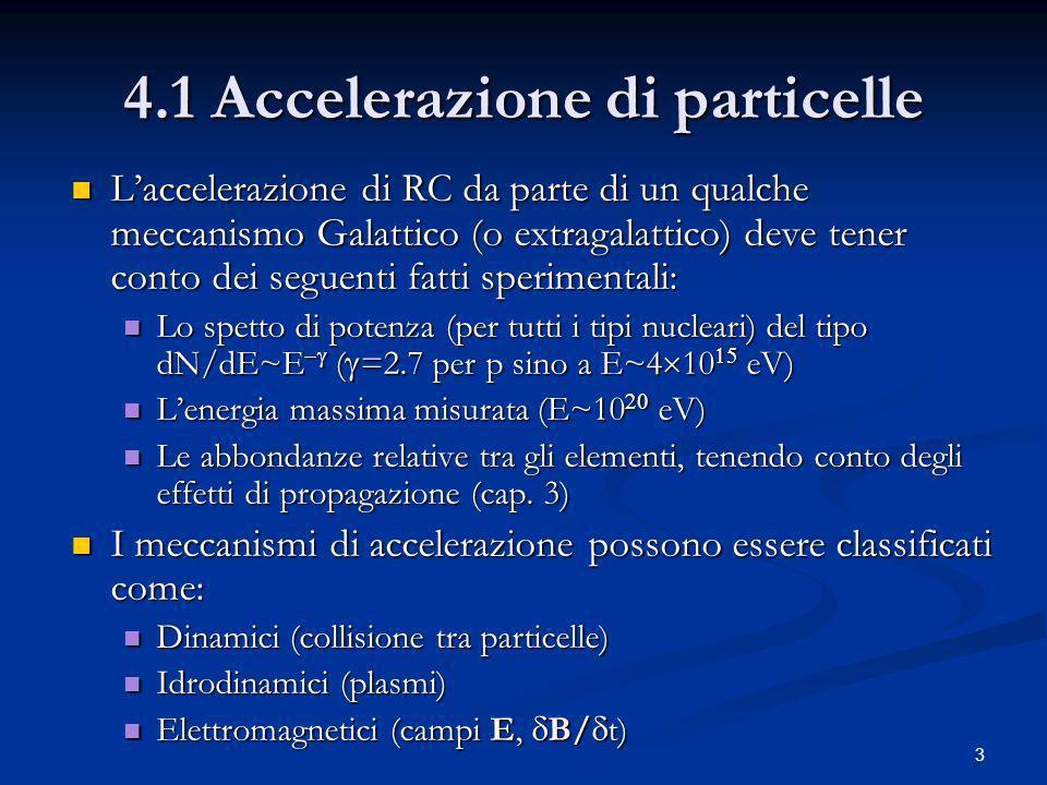 3 4.1 Accelerazione di particelle Laccelerazione di RC da parte di un qualche meccanismo Galattico (o extragalattico) deve tener conto dei seguenti fa
