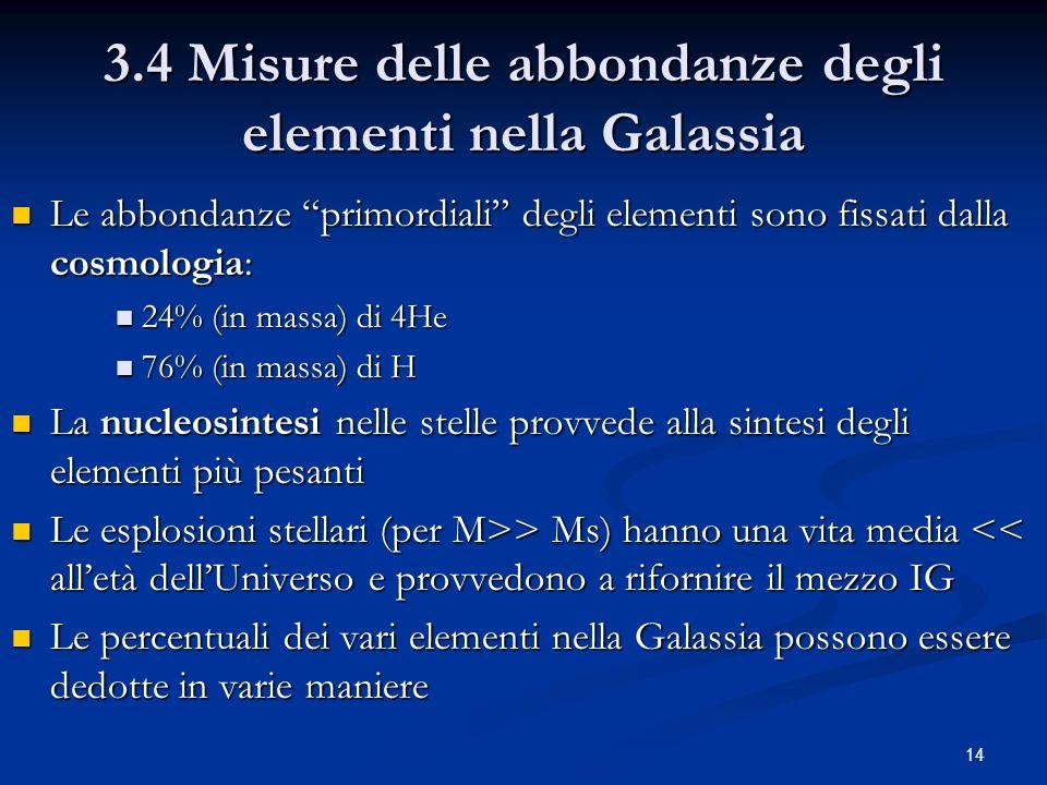 14 3.4 Misure delle abbondanze degli elementi nella Galassia Le abbondanze primordiali degli elementi sono fissati dalla cosmologia: Le abbondanze pri