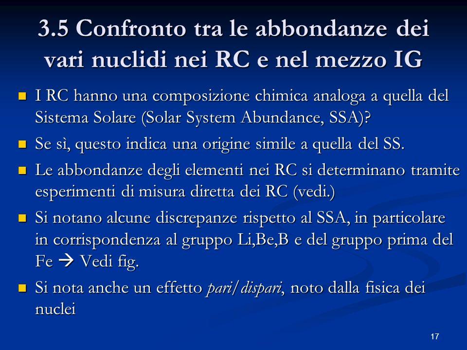 17 3.5 Confronto tra le abbondanze dei vari nuclidi nei RC e nel mezzo IG I RC hanno una composizione chimica analoga a quella del Sistema Solare (Sol