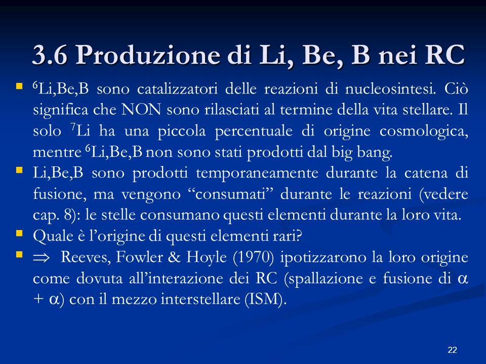 22 3.6 Produzione di Li, Be, B nei RC 6 Li,Be,B sono catalizzatori delle reazioni di nucleosintesi. Ciò significa che NON sono rilasciati al termine d