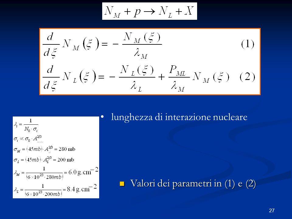 27 Valori dei parametri in (1) e (2) Valori dei parametri in (1) e (2) lunghezza di interazione nucleare