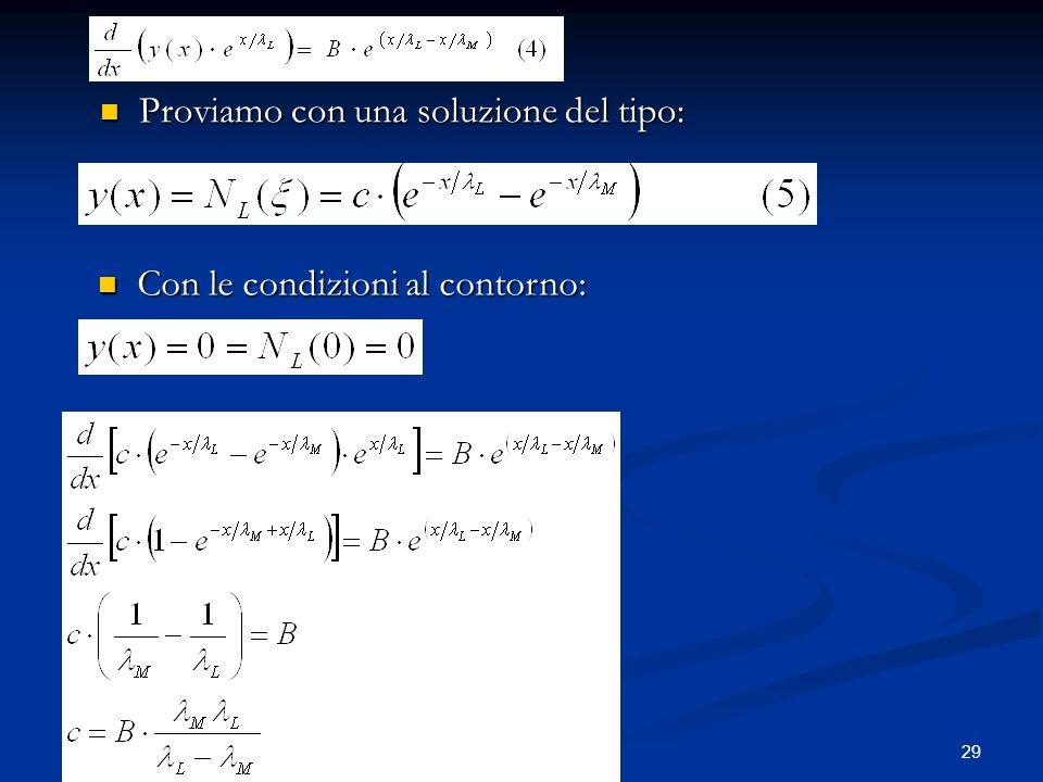 29 Proviamo con una soluzione del tipo: Proviamo con una soluzione del tipo: Con le condizioni al contorno: Con le condizioni al contorno: