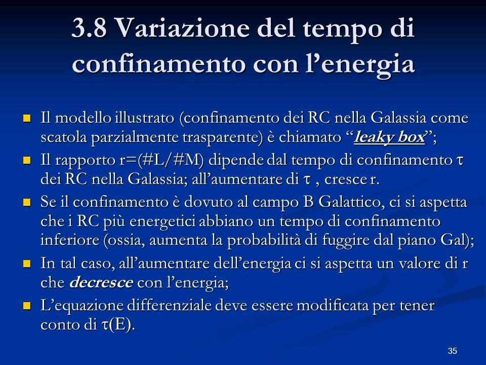 35 3.8 Variazione del tempo di confinamento con lenergia Il modello illustrato (confinamento dei RC nella Galassia come scatola parzialmente trasparen