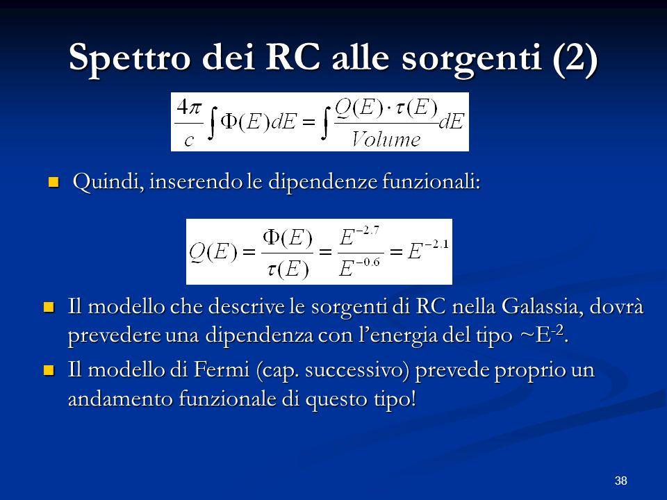 38 Spettro dei RC alle sorgenti (2) Quindi, inserendo le dipendenze funzionali: Quindi, inserendo le dipendenze funzionali: Il modello che descrive le