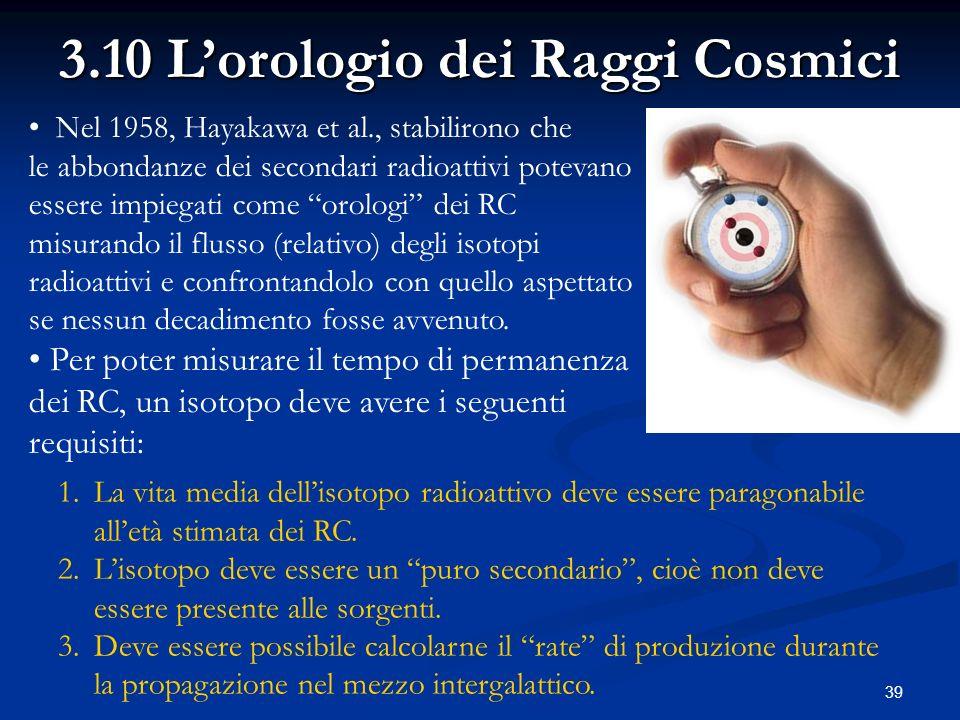 39 Nel 1958, Hayakawa et al., stabilirono che le abbondanze dei secondari radioattivi potevano essere impiegati come orologi dei RC misurando il fluss