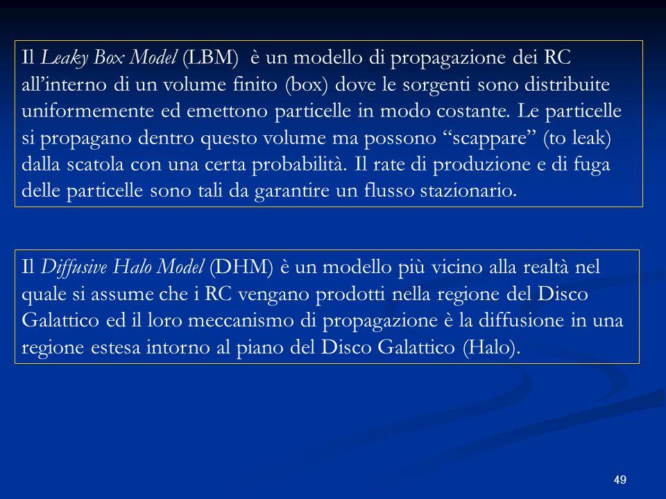 49 Il Leaky Box Model (LBM) è un modello di propagazione dei RC allinterno di un volume finito (box) dove le sorgenti sono distribuite uniformemente e