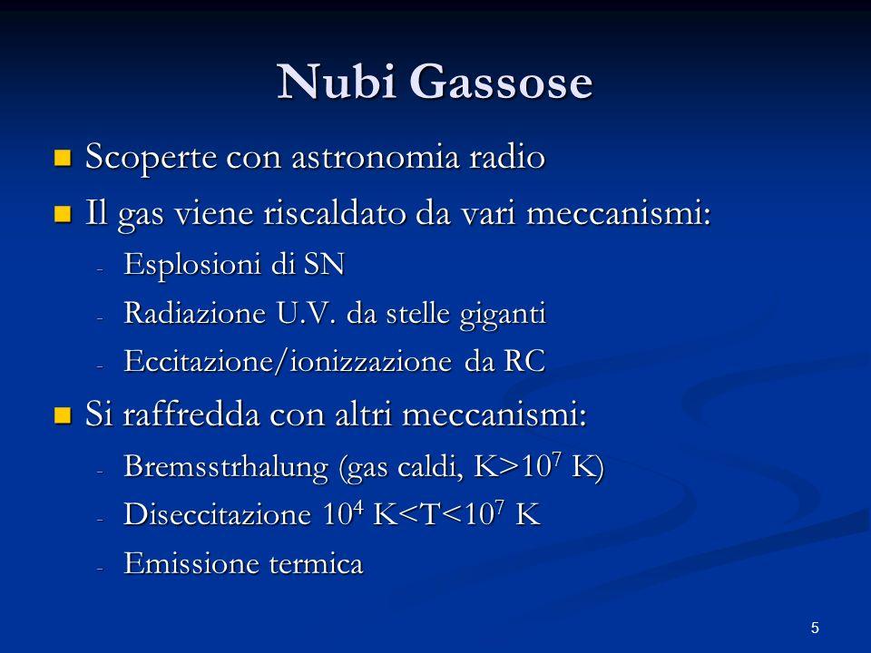 5 Nubi Gassose Scoperte con astronomia radio Scoperte con astronomia radio Il gas viene riscaldato da vari meccanismi: Il gas viene riscaldato da vari