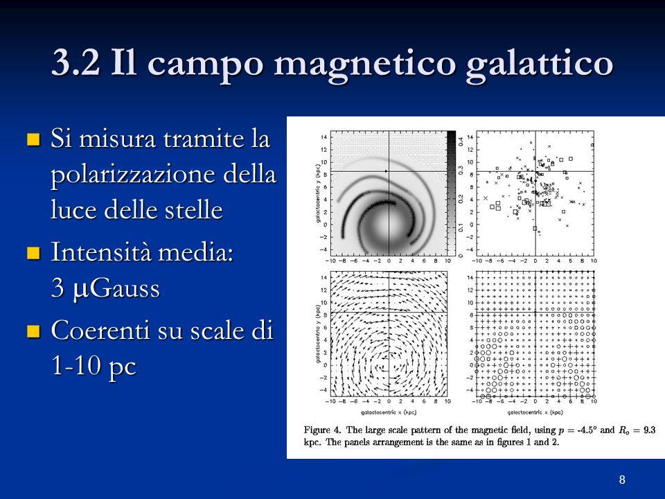 8 3.2 Il campo magnetico galattico Si misura tramite la polarizzazione della luce delle stelle Si misura tramite la polarizzazione della luce delle st