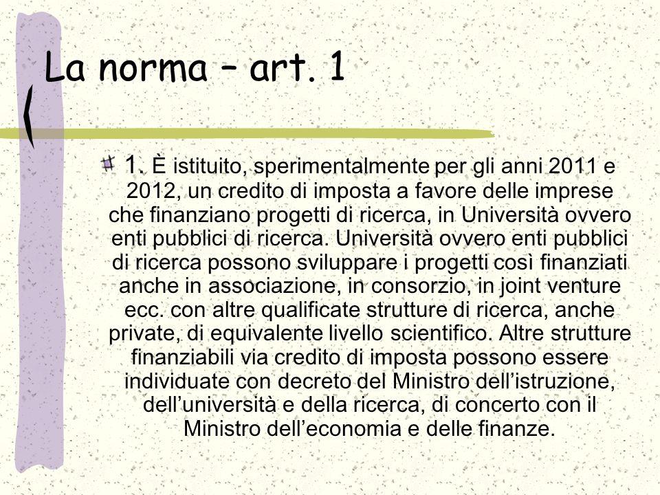 La norma – art. 1 1.
