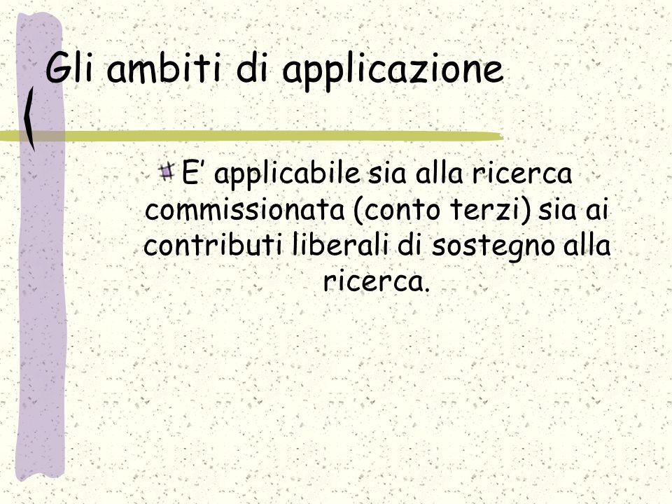 Gli ambiti di applicazione E applicabile sia alla ricerca commissionata (conto terzi) sia ai contributi liberali di sostegno alla ricerca.