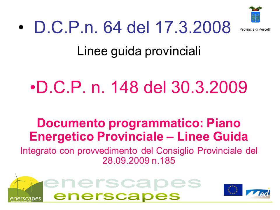 Provincia di Vercelli D.C.P.n. 64 del 17.3.2008 Linee guida provinciali D.C.P. n. 148 del 30.3.2009 Documento programmatico: Piano Energetico Provinci