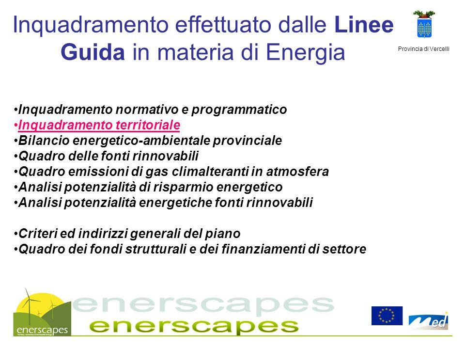 Provincia di Vercelli Inquadramento effettuato dalle Linee Guida in materia di Energia Inquadramento normativo e programmatico Inquadramento territori