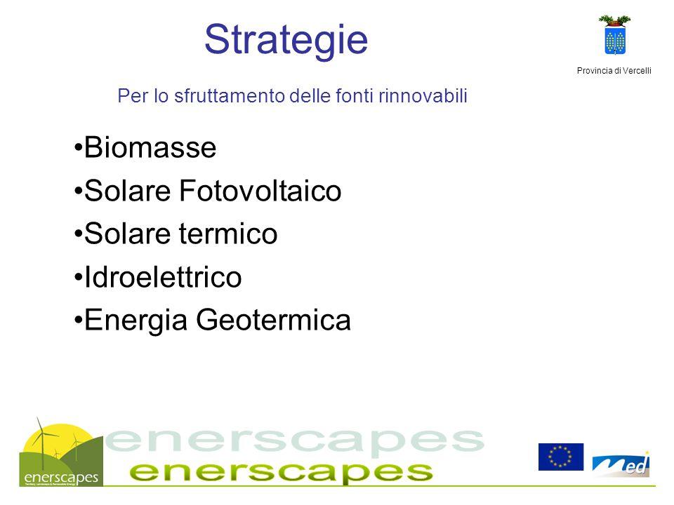Provincia di Vercelli Strategie Per lo sfruttamento delle fonti rinnovabili Biomasse Solare Fotovoltaico Solare termico Idroelettrico Energia Geotermi