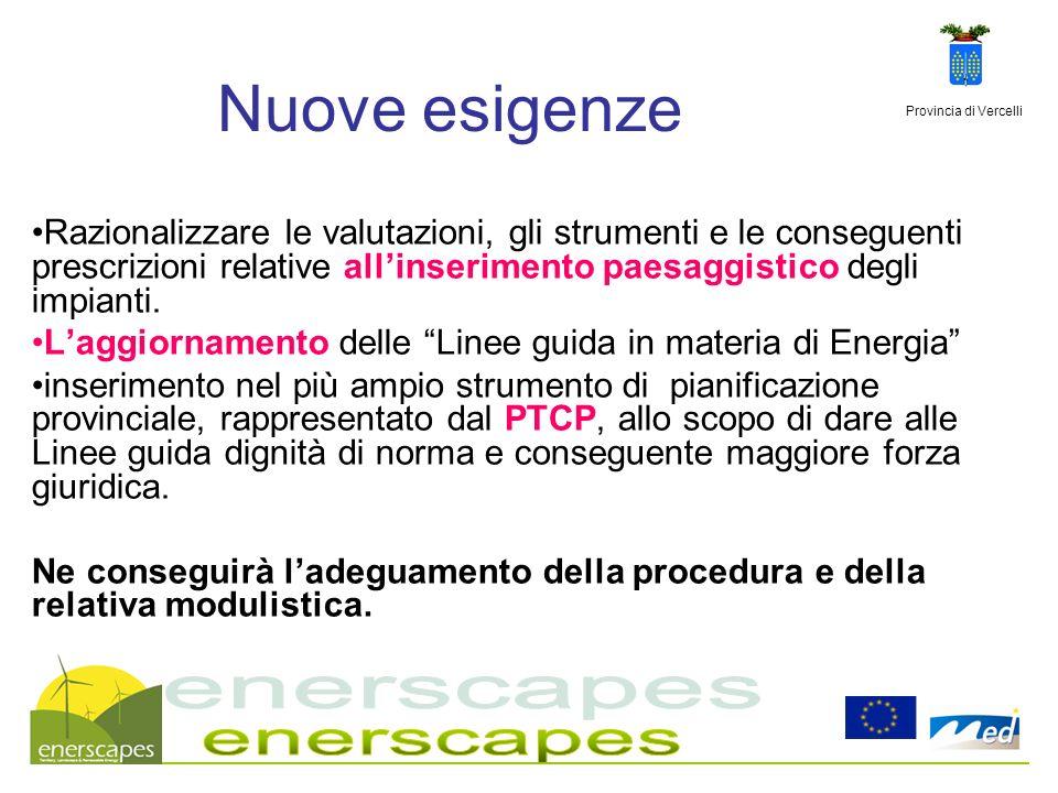 Provincia di Vercelli Nuove esigenze Razionalizzare le valutazioni, gli strumenti e le conseguenti prescrizioni relative allinserimento paesaggistico