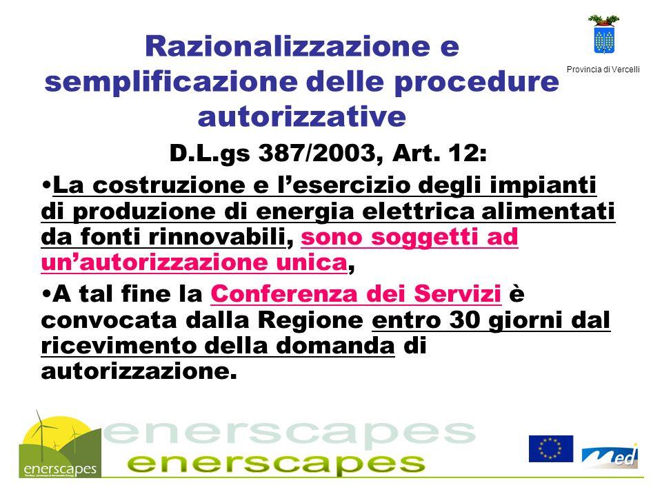 Provincia di Vercelli Razionalizzazione e semplificazione delle procedure autorizzative D.L.gs 387/2003, Art. 12: La costruzione e lesercizio degli im