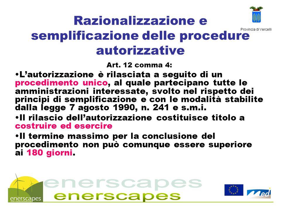 Provincia di Vercelli Razionalizzazione e semplificazione delle procedure autorizzative Art. 12 comma 4: Lautorizzazione è rilasciata a seguito di un