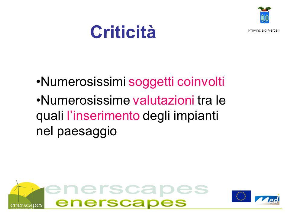 Provincia di Vercelli Criticità Numerosissimi soggetti coinvolti Numerosissime valutazioni tra le quali linserimento degli impianti nel paesaggio