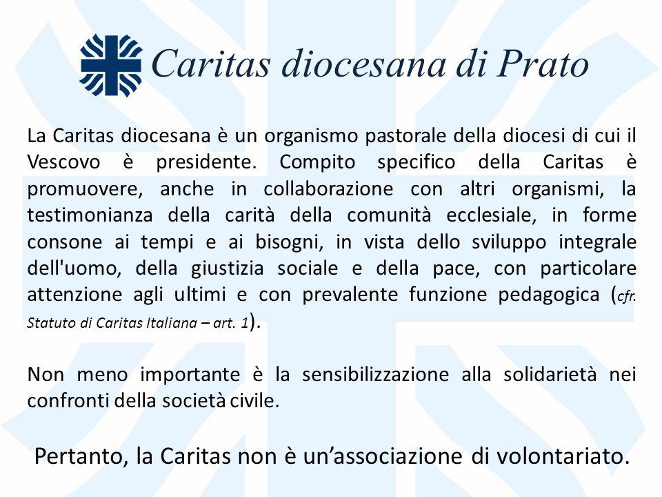 Caritas diocesana di Prato La Caritas diocesana è un organismo pastorale della diocesi di cui il Vescovo è presidente.