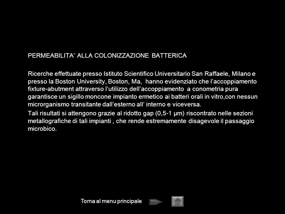 Torna al menu principale PERMEABILITA ALLA COLONIZZAZIONE BATTERICA Ricerche effettuate presso Istituto Scientifico Universitario San Raffaele, Milano