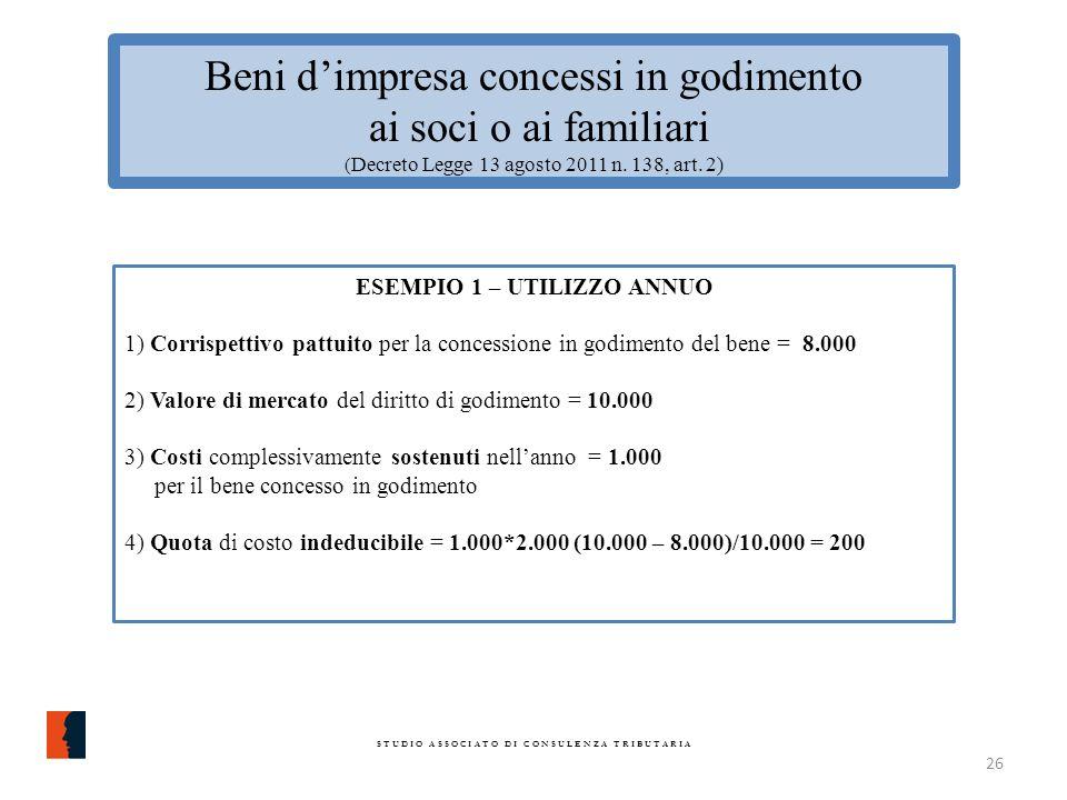 Beni dimpresa concessi in godimento ai soci o ai familiari ( Decreto Legge 13 agosto 2011 n.