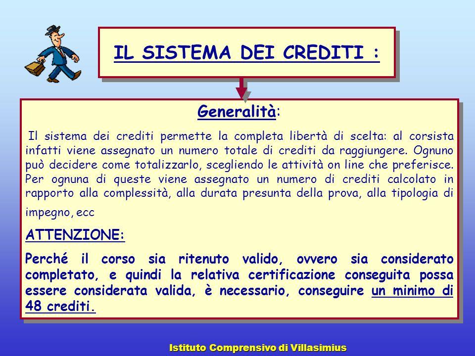 Generalità: Il sistema dei crediti permette la completa libertà di scelta: al corsista infatti viene assegnato un numero totale di crediti da raggiung