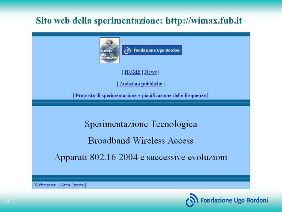 17 Sito web della sperimentazione: http://wimax.fub.it