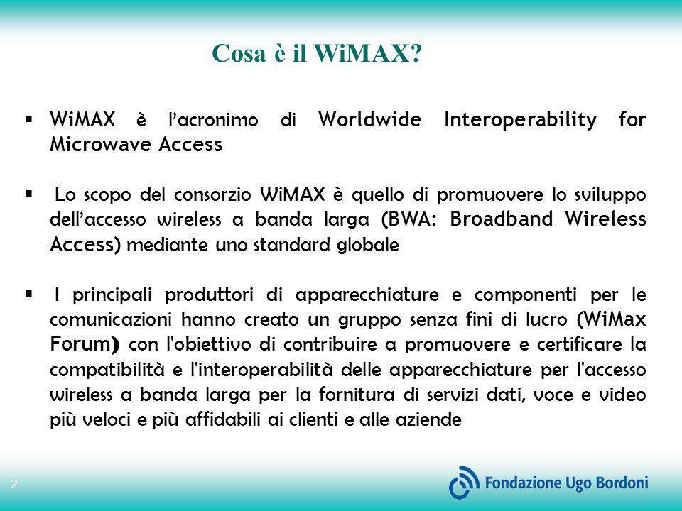 2 Cosa è il WiMAX? WiMAX è lacronimo di Worldwide Interoperability for Microwave Access Lo scopo del consorzio WiMAX è quello di promuovere lo svilupp