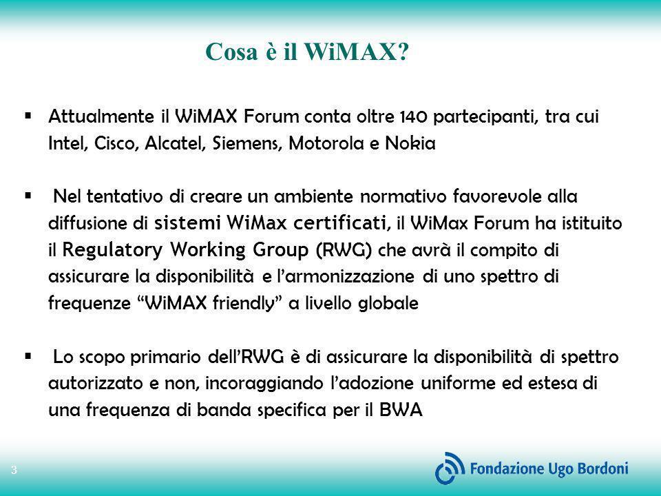 4 Larmonizzazione per il BWA, secondo il WiMax Forum, potrebbe essere raggiunta, inizialmente, nelle seguenti bande di frequenza: 5GHz non licenziata : dal momento che lo spettro non autorizzato non richiede licenza, questa è una banda chiave per garantire lo sviluppo della tecnologia nelle aree a scarsa densità di popolazione e nelle zone più remote del globo (precisamente: 5,8GHz) 3.5GHZ licenziata : in questa banda, pesantemente occupata in alcuni paesi, lo scopo del WiMax Forum sarà quello di evidenziare le esigenze tecniche e regolatorie onde faclitare lintroduzione della tecnologia WiMax 2.5GHz licenziata : sebbene già assegnata negli Usa, in Messico, in Brasile e in alcune regioni del sud-est asiatico, il WiMax Forum auspica che diventi disponibile in altri Paesi.