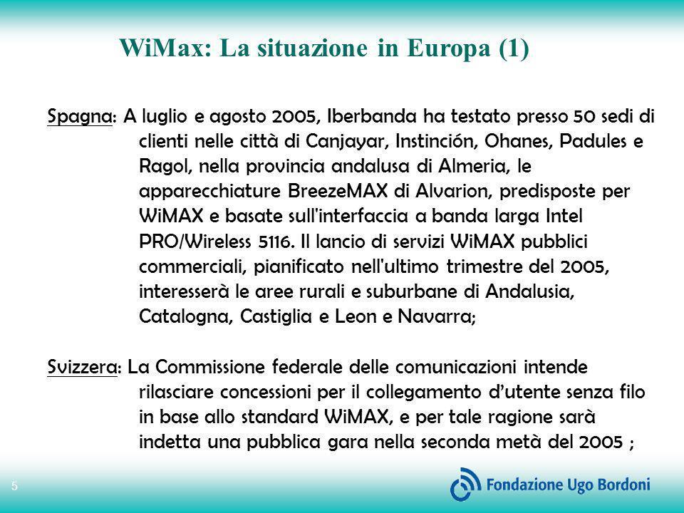 6 WiMax: La situazione in Europa (2) Inghilterra: In Inghilterra lo standard WiMax entra in commercio con PCCW che ha iniziato a vendere connessioni Internet ad alta velocità mentre è in corso la sperimentazione su 300.000 case in 6 cittadine di campagna; Germania: Il Garante delle tlc tedesco ha lanciato una consultazione pubblica per l assegnazione delle frequenze 3,5 GHz, con l obiettivo di arrivare entro fine anno all assegnazione dello spettro.