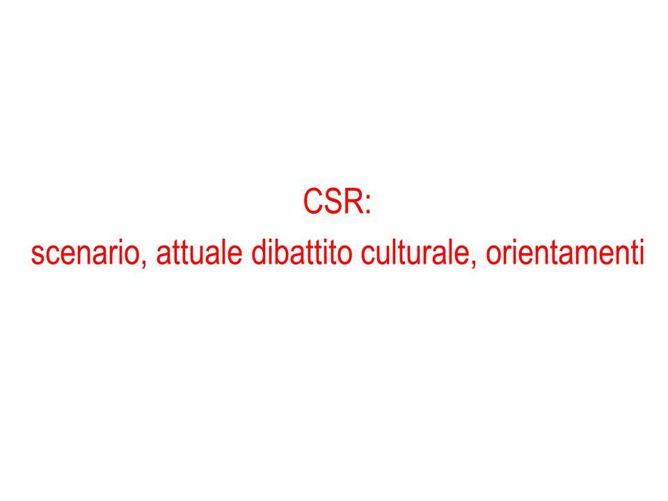 CSR: scenario, attuale dibattito culturale, orientamenti