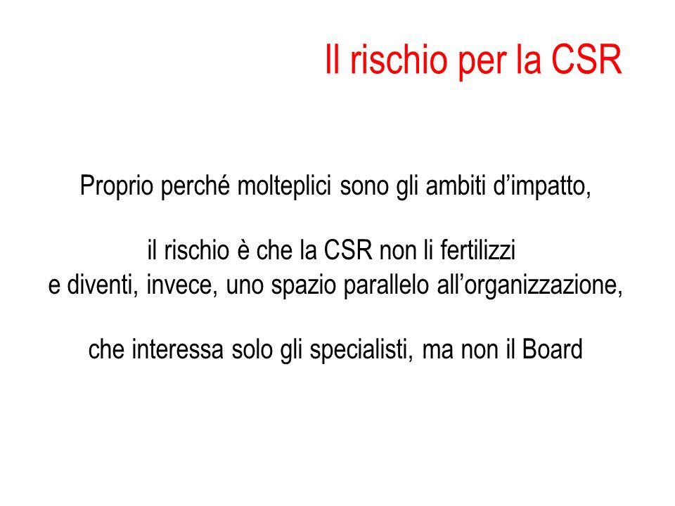 Il rischio per la CSR Proprio perché molteplici sono gli ambiti dimpatto, il rischio è che la CSR non li fertilizzi e diventi, invece, uno spazio para