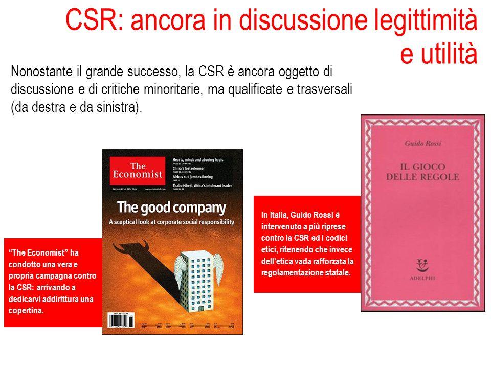 CSR: ancora in discussione legittimità e utilità Nonostante il grande successo, la CSR è ancora oggetto di discussione e di critiche minoritarie, ma q