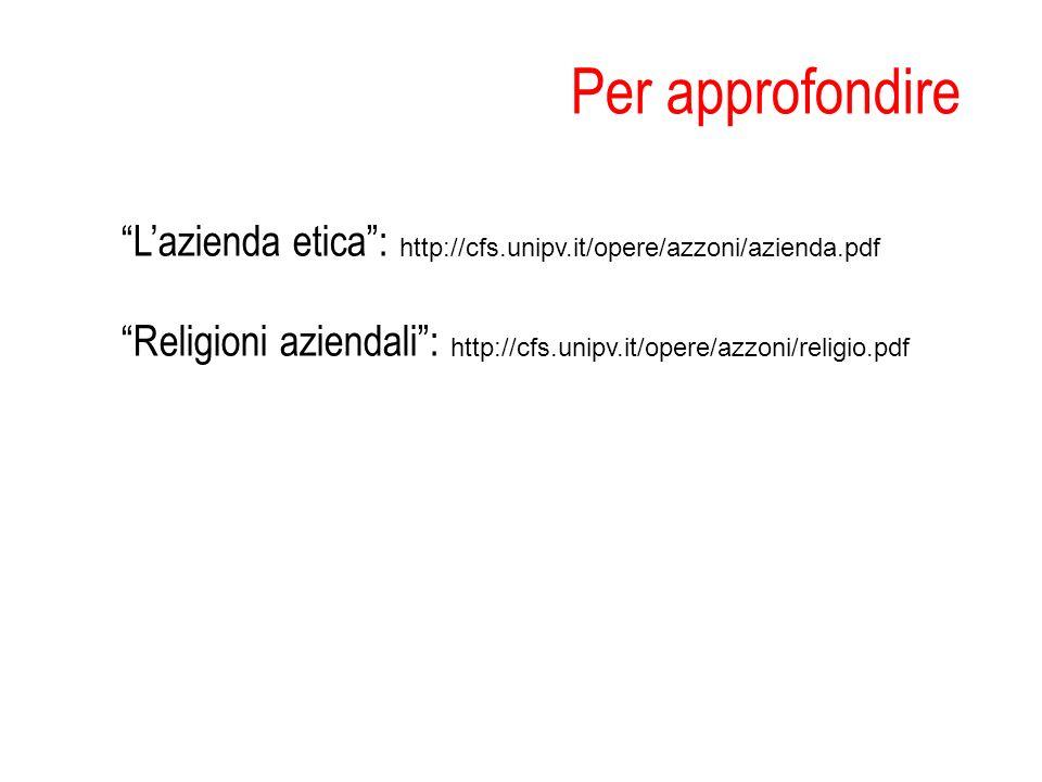 Per approfondire Lazienda etica: http://cfs.unipv.it/opere/azzoni/azienda.pdf Religioni aziendali: http://cfs.unipv.it/opere/azzoni/religio.pdf