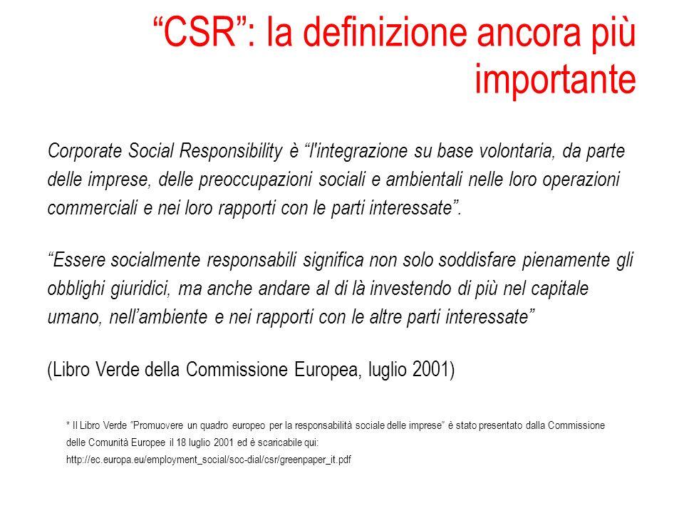 CSR: la definizione ancora più importante Corporate Social Responsibility è l'integrazione su base volontaria, da parte delle imprese, delle preoccupa