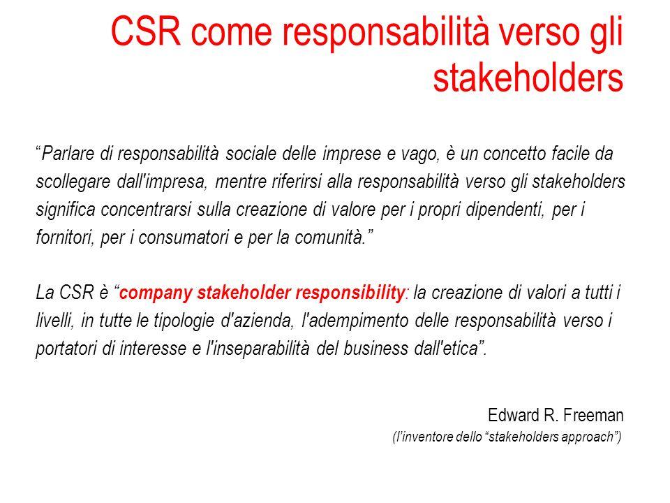 CSR come responsabilità verso gli stakeholders Parlare di responsabilità sociale delle imprese e vago, è un concetto facile da scollegare dall'impresa