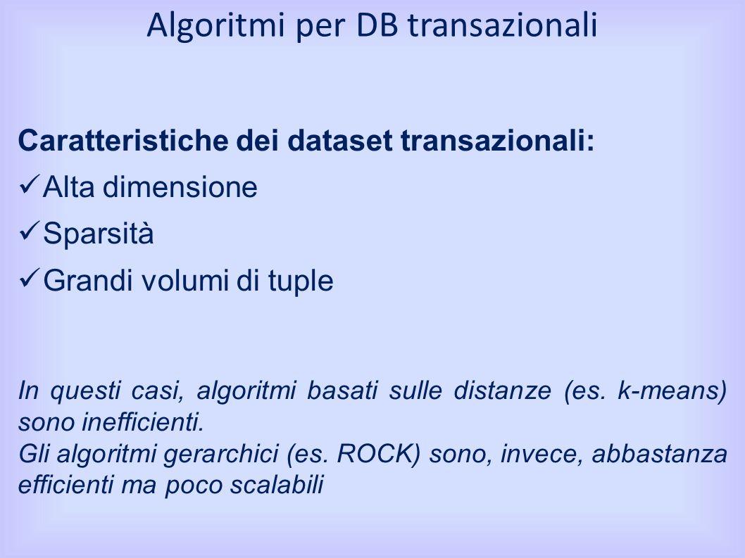 Caratteristiche dei dataset transazionali: Alta dimensione Sparsità Grandi volumi di tuple In questi casi, algoritmi basati sulle distanze (es.