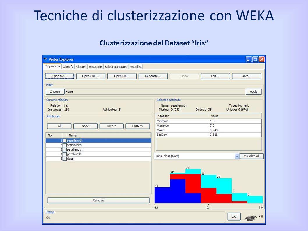 Tecniche di clusterizzazione con WEKA Clusterizzazione del Dataset Iris