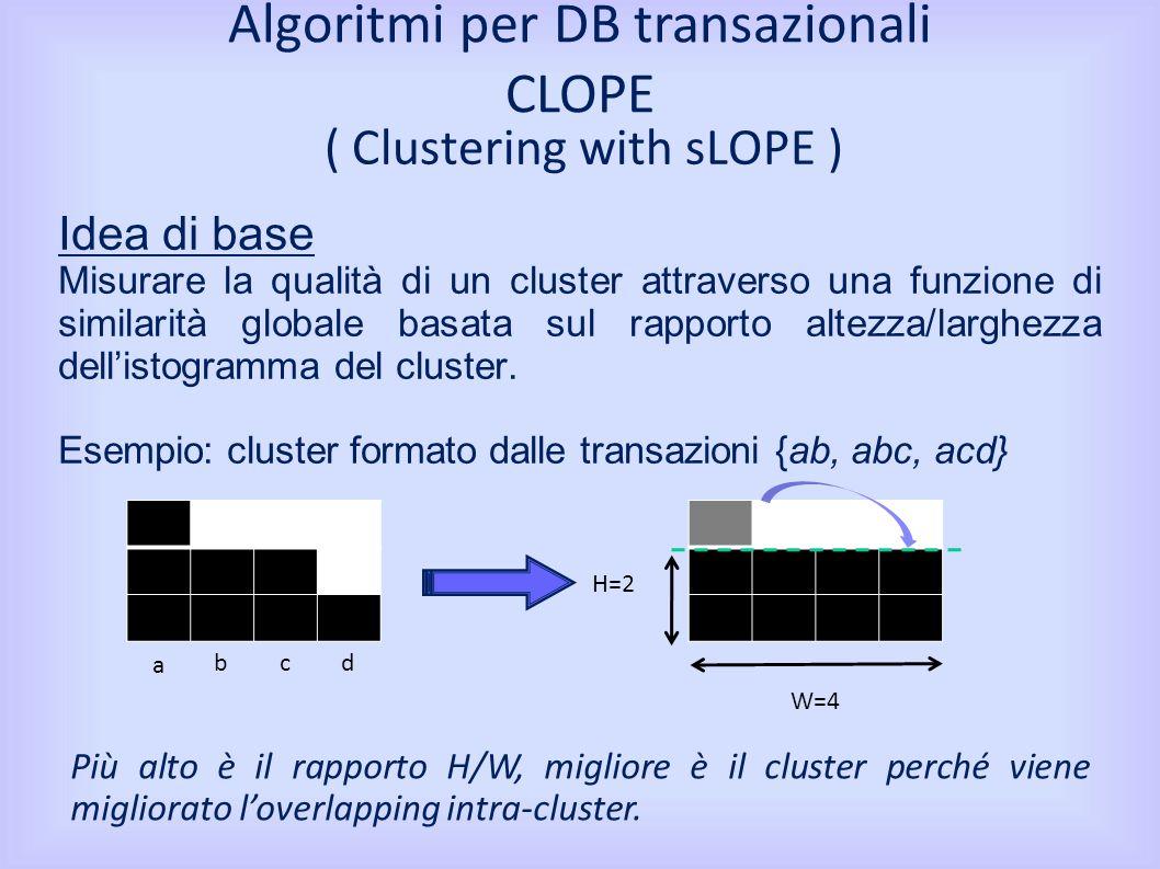 ( Clustering with sLOPE ) Idea di base Misurare la qualità di un cluster attraverso una funzione di similarità globale basata sul rapporto altezza/larghezza dellistogramma del cluster.