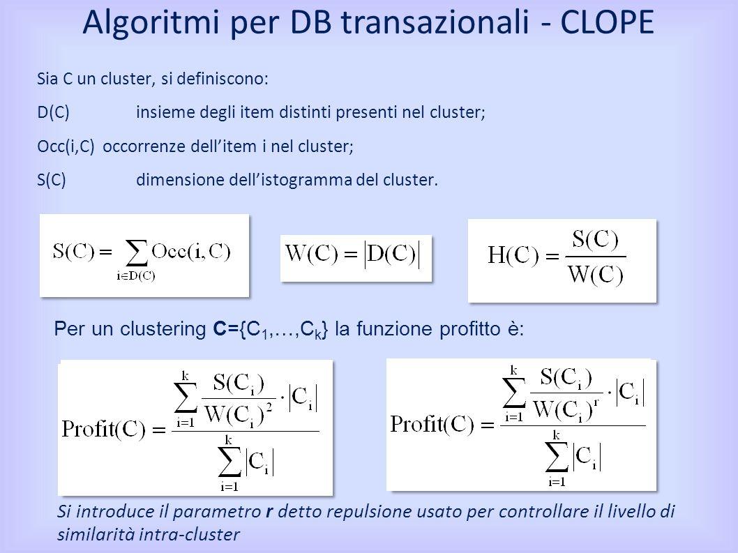 Sia C un cluster, si definiscono: D(C) insieme degli item distinti presenti nel cluster; Occ(i,C) occorrenze dellitem i nel cluster; S(C) dimensione dellistogramma del cluster.