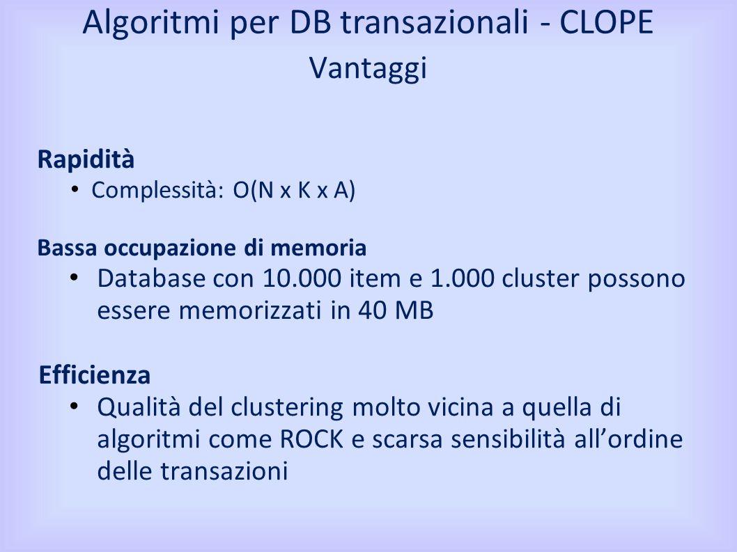 Vantaggi Rapidità Complessità: O(N x K x A) Bassa occupazione di memoria Database con 10.000 item e 1.000 cluster possono essere memorizzati in 40 MB Efficienza Qualità del clustering molto vicina a quella di algoritmi come ROCK e scarsa sensibilità allordine delle transazioni Algoritmi per DB transazionali - CLOPE